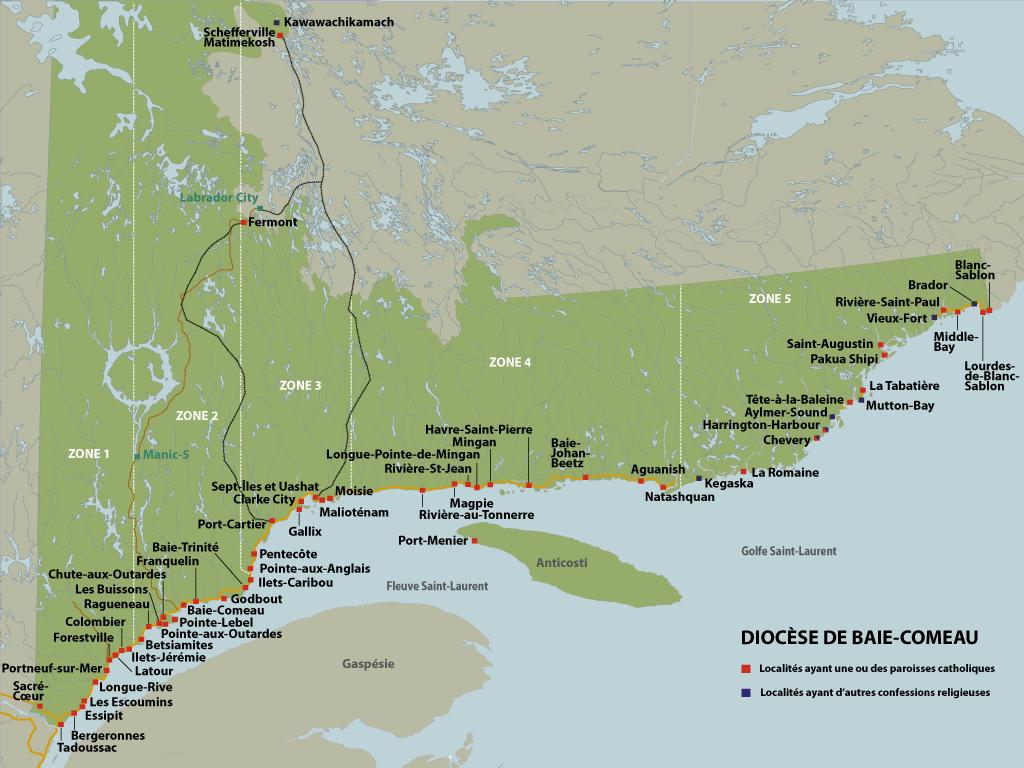 Carte du Diocèse Baie-Comeau